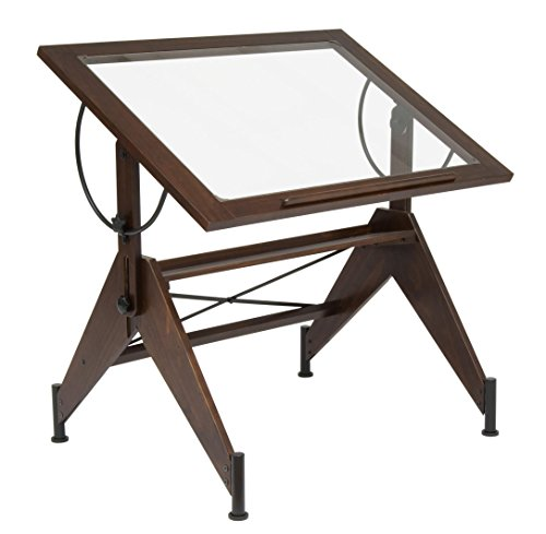 STUDIO DESIGNS Aries Glass Top Drafting Table Sonoma Dark Walnut Brown/Clear Glass 13310 by Studio Designs