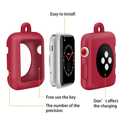 Coholl with Genuine Leather Necklace Pendant Strap Replacement Silicone Protector Cases Cover Compatible for Apple Watch Series 3 2 1 38mm 42mm Neck Band Accessories (red, 42MM) by Coholl (Image #2)