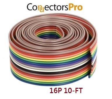 Pc Accessories - 10 Feet IDC 16P 1.27mm Rainbow Color Flat Ribbon Cable 16 Conductors for 2.54mm Connectors