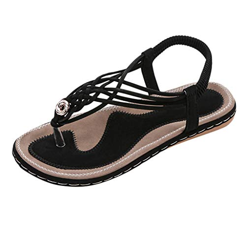 (Mysky Summer Women Popular Sweet Strappy Weave Clip Toe Comfortable Flat Elastic Band Sandals Black)