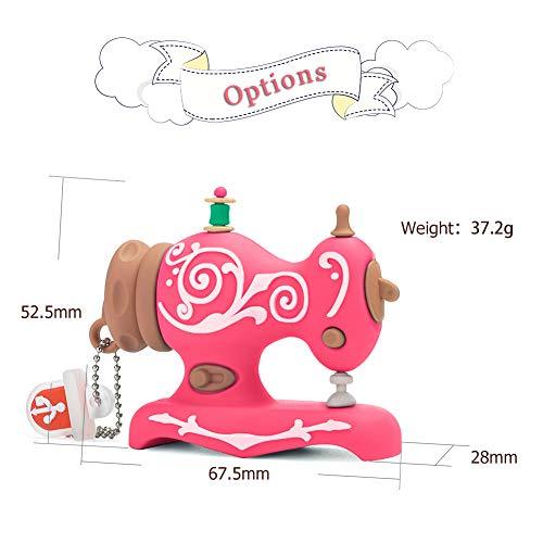LEIZHAN Novelty USB Flash Drive Sewing Machine Themed Character Thumb Drive Gift Pendrive (16GB, Sewing Machine (Pink))