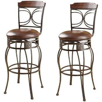 Amazon Com Acme 96047 Set Of 2 Tavio Swivel Bar Chair 29