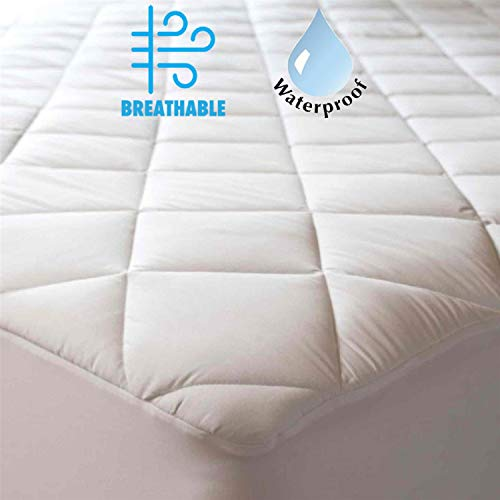 100% Cotton Quilted Waterproof Mattress Protector Cot Bed 33x75x12Inches Deep Pocket Breathable Absorbent Mattress Pad Cover Non Noisy Silent Sleep Polyurethane Back