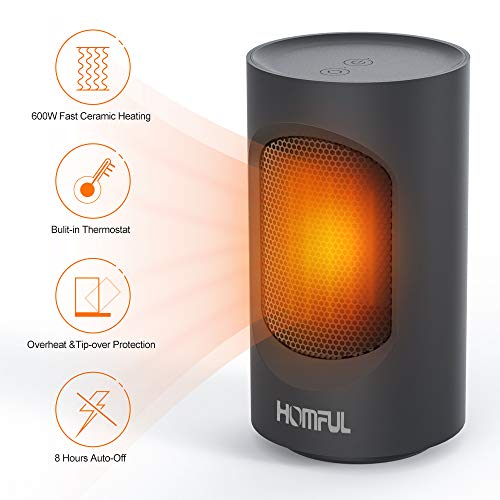 Ceramic Space Heater, HOMFUL Portable Mini Heater, 600W Swing Oscillating Electric Heater with Overheating & Dumping Protection, 2 Mode Setting, Quiet, Warm Perfect for Home & Office Use