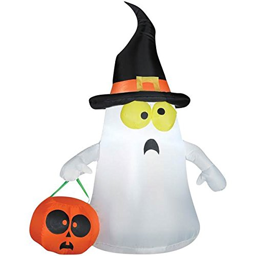 Airblown Outdoor Ghost with Witch Hat - Outdoor Ghost With Witch Hat