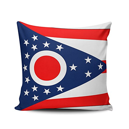 Case Pillow Ohio State Printed - ONGING Throw Pillow Covers Case Blue Red and White Ohio State Flag American Mojo Decorative Pillowcase Cushion Cover 26 x 26 inch European Size One Side Design Printed