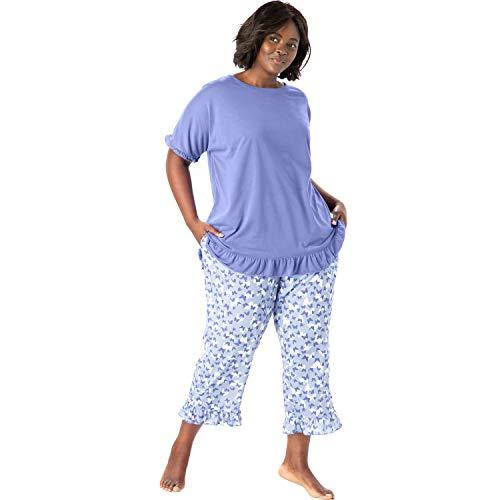 Dreams & Co. Women's Plus Size Cool Dreams Ruffled Capri Pajama Set - French Lilac Butterflies, 14/16