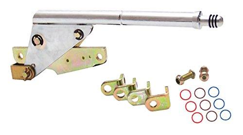 "American Shifter 401200 Shifter Kit (700R4 8"" E Brake CHR Push Button Floor Handle Ringed Knob For D63C4)"