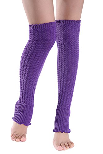Invierno frío tiempo sólido mujer punto pata larga Purple