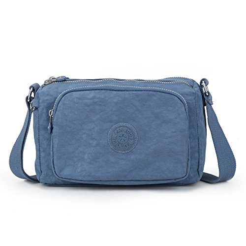 Sumcoa Waterproof Nylon Crossbody Bag Multi Function Light Handbag Casual Shoulder Bag (jeans blue) Jean Handbag Purse