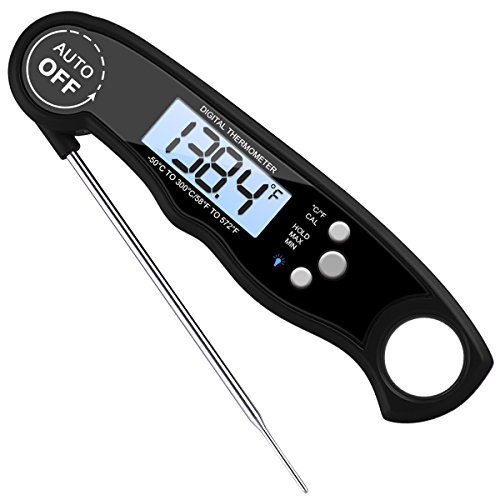 AMIR Digital Meat Thermometer, Waterproof Instant Read Cooking Thermometer Electronic Food Thermometer with Probe Calibration for Kitchen, BBQ, Poultry, Grill, Fast & Auto On/ Off [Battery Included]