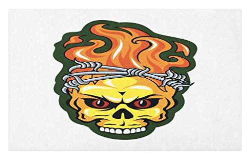 Lunarable Barbed Wire Doormat, Skull with Fire Flame Pattern Beast Spooky Scary Halloween Theme, Decorative Polyester Floor Mat with Non-Skid Backing, 30 W X 18 L Inches, Orange Yellow Green