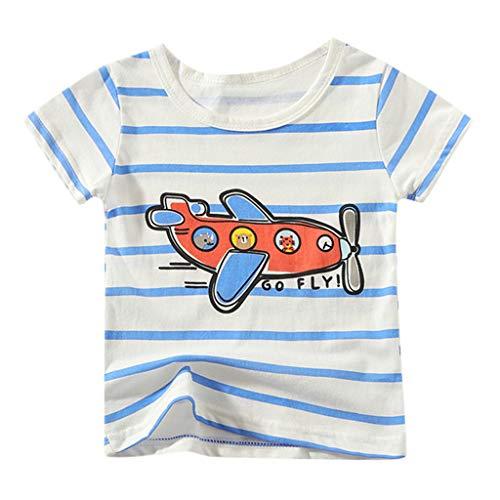 Zlolia Newborn Boys&Girls Cartoon Print T-Shirt Cotton Round Neck Comfort Short Sleeve Pullover Kids Summer Fashion Outfits White