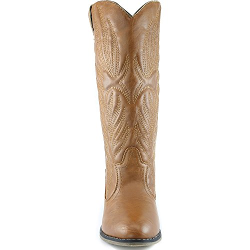 Western High Legend Cowboy Knee PU Embroidered Women's Boot Tan DailyShoes qPwt6Yg