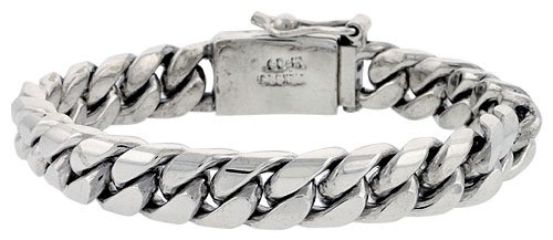 Gent's Sterling Silver Cuban Link Bracelet Handmade 1/2 inch wide, 8 1/2 inch (21.6 cm) by Sabrina Silver