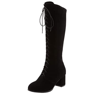 344907dc8ce HOOH Womens Knee High Boots Criss Cross Lace Zipper Long Boots Chunky Heels  Autumn Winter Boots