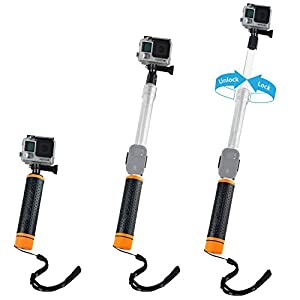 "Waterproof Telescopic Pole and Floating Hand Grip in one - For Gopro Hero 5, Black, Session, Hero 4, Session, Black, Silver, Hero+ LCD, 3+, 3, 2, 1 - Extendable from 6.7"" to 15.7"" - Cradle for Remote"