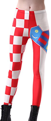 QZUnique Women's Croatia Flag Digital Print Footless Sexy Elastic Leggings
