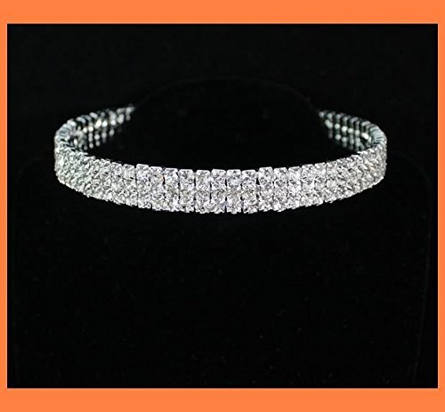 Janefashions 3-row Clear Austrian Clear Rhinestone Choker Necklace Party Wedding Prom N175s Silver Austrian Crystal Rhinestone Choker Necklace