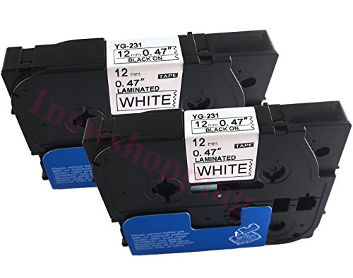 NEOUZA 2PK Black on White Label Tape Compatible for Brother TZ 231 TZe 231 P-Touch ACD.auto