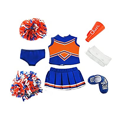 American Fashion World Blue and Orange Cheerleader Outfit Uniform with Dress, Bloomers, Poms, Megaphone, Socks, and Shoes fits 18 Inch Doll: Home & Kitchen