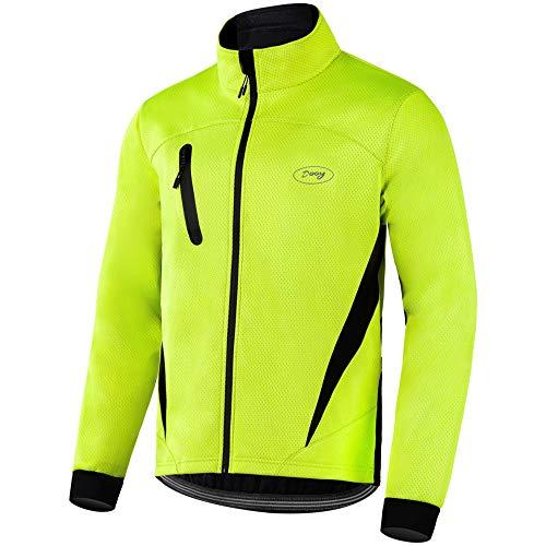 Dooy Winter Warm UP Thermal Softshell Cycling Jacket Windproof Waterproof Mens Running Mountain Biking Breathable…