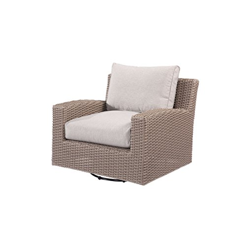 Emerald Home Reims Brick Gray Outdoor Lounge Chair with Swivel Glider, All Weather Wicker, And Spuncrylic Cushions Swivel Outdoor Lounge Chair