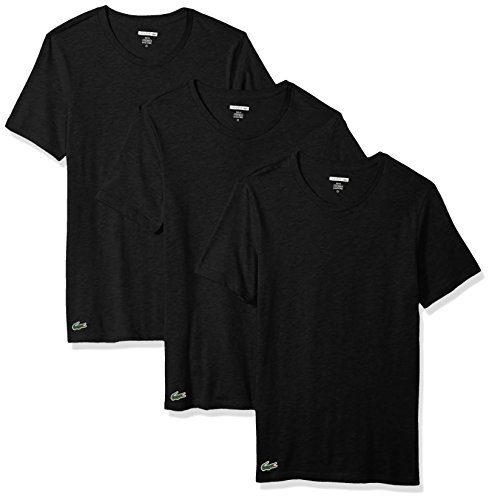 Lacoste Men's 3PK Supima Cotton Slim Fit Crew Neck Tee, Black, L