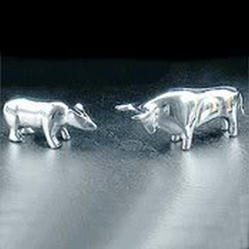 Executive Gift-Wall Street Stock Market Set of Bull and Bear Silver Plated Paperweights