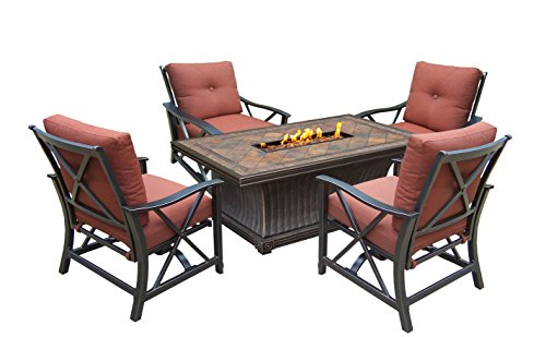 52' 5 pc. Rustic and Cozy Rectangular Outdoor Deep Sitting Fire Pit Chat Set...
