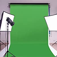 MOHOO Photography Background 5FTX10FT Cotton Polyester Fabric Solid Color Green Screen Photography Backdrop Cloth Photo Backdrop for Photo Studio Props With Pole Pocket No Wrinkle (1.6X3M)