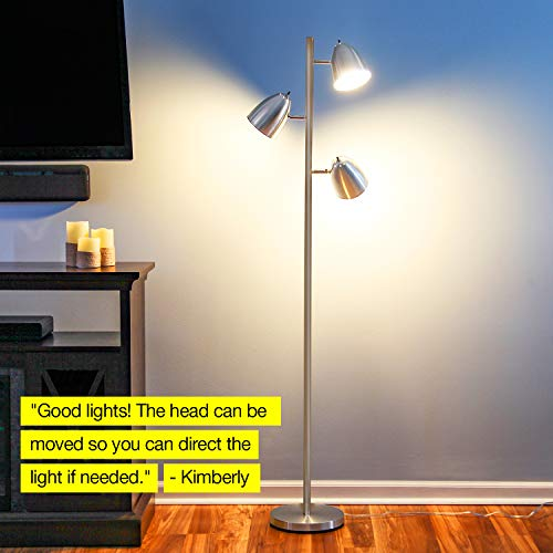 Brightech Jacob - LED Reading and Floor Lamp for Living Rooms & Bedrooms - Classy, Mid Century Modern Adjustable 3 Light Tree - Standing Tall Pole Lamp with 3 LED Bulbs - Satin Nickel by Brightech (Image #7)