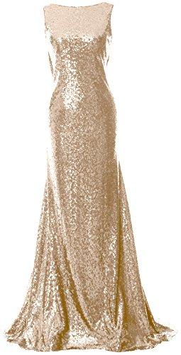 Posteriore Promenade Cofano Lungo Vestito Di Champagne Semplice Macloth Paillettes Damigella Di Elegante D'onore Della Dell'abito PEq5Pxg4w