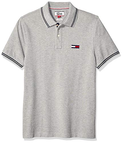 Tommy Hilfiger Men's THD Short Sleeve Polo Shirt, Grey Heather, LG (Polo For Tommy Men)