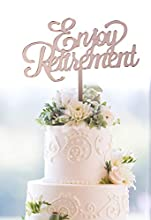 Starsgarden Engoy Retirement Rose Gold Cake Topper Happy Retirement Cake Topper Retirement Party Supplies Decoration(Rose Gold Retirement)