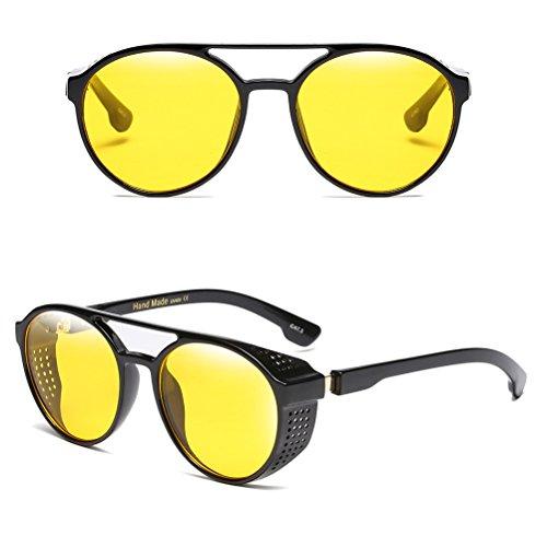 de Retro Zhuhaitf Yellow Eyewear para Protección de Hombre Gafas de Mujer para Moda UV Sol Gafas Circle AAxqHtwp