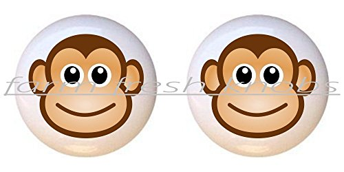 Monkey Drawer Knobs (SET OF 2 KNOBS - Monkey Face #102 - Monkeys - DECORATIVE Glossy CERAMIC Cupboard Cabinet PULLS Dresser Drawer KNOBS)