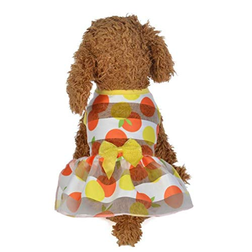 YOTATO Dog Dress Summer Spring Colorful Puppy Princess Polyester Solid Costumes Clothes -