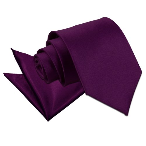 Set Men and Wedding Satin Purple Formal Tie Plain Neck DQT Hanky qdwzx0Fq