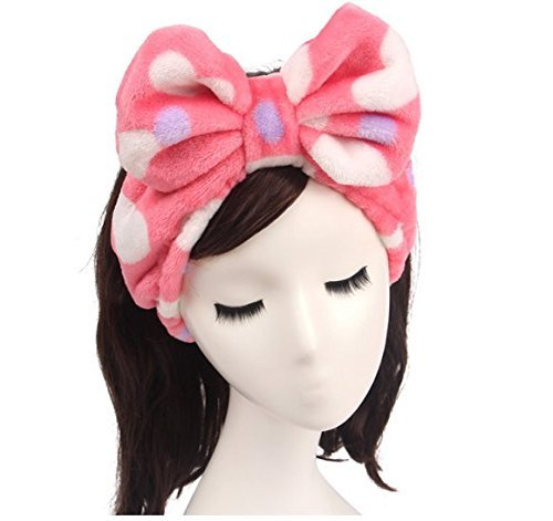 Shintop Women Fashion Lovely Soft Carol Fleece Bowknot Bow Makeup Cosmetic Shower Elastic Hair Band Hairlace Headband (Red)