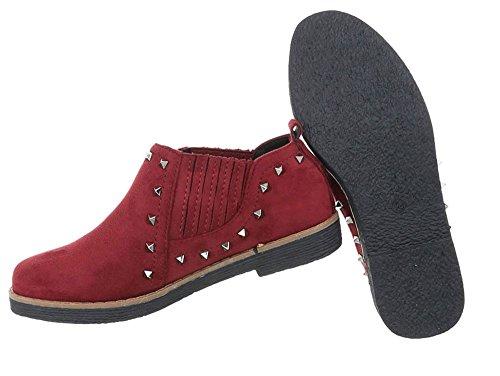 Damen Schuhe Halbschuhe Nieten Weinrot