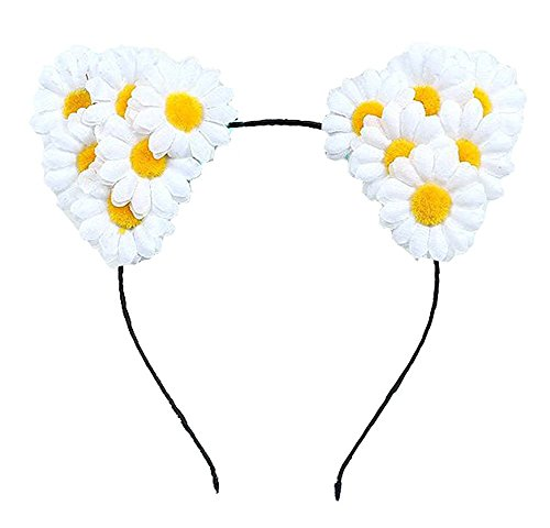Cat Ears Elf Rose Daisy Flower Headband Hairband Anime Cosplay Costume Halloween Hair Hoop (A Daisy (Elf Horse Costume)