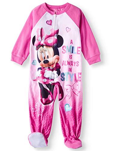 - Minnie Mouse Disney Baby Toddler Girl Girls Comfortable Microfleece Footed Blanket Sleeper Pajamas (Toddler Girls) (5T)