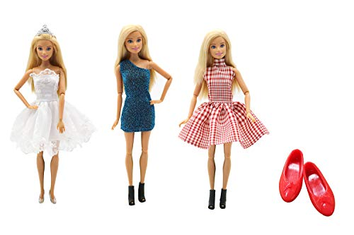 (MM Cute Girl Beautiful 3 Pcs Mini High-end Handmade Princess Dress Clothes Accessories and 1 Red Shoes for 11.5 Inch Barbie Dolls)