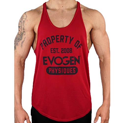 iHPH7 Tank Top Men Performance Quick-Dry Muscle Sleeveless Shirt Tank Top Fashion Letters Printed Vest Comfortable Exercise Top XL Red