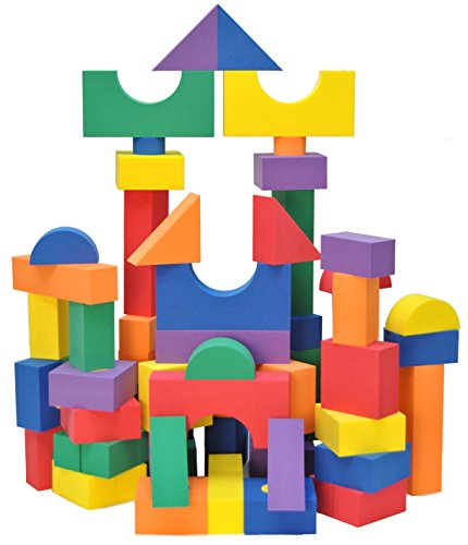 Wonder Blocks Kids Non-Toxic Non-Recycled Quality Foam (100 Piece) - Foam Building Blocks Kids