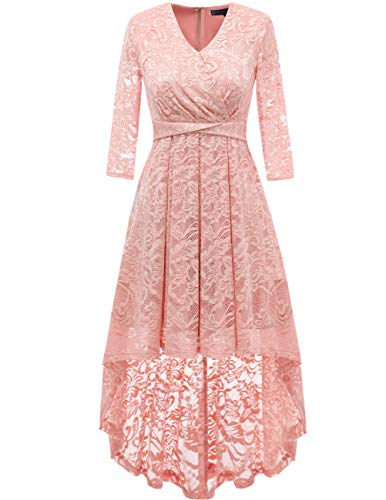 DRESSTELLS Women's Vintage Floral Lace Bridesmaid Dress 3/4 Sleeve Wedding Party Cocktail Dress Blush XL ()