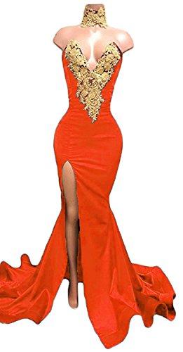 orange satin prom dress - 5