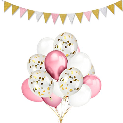 12 Pack 12 Inch Gold Confetti Balloons,30 Pack Pink & White Color Party Balloons and Vintage Style Pennant Banner,for Wedding Birthday Christmas Party - Balloons Vintage Party