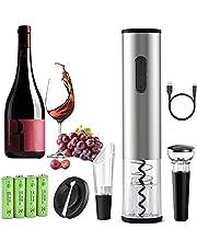 Mfshiye Elektrische kurkentrekker, 6 seconden automatische flesopener, draadloze wijnflesopener, set met wijnfoliesnijder & vacuüm stopper & geleverd USB-oplaadkabel